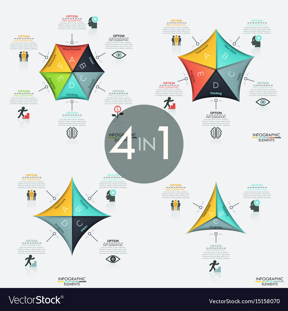 Set of 4 infographic design layouts