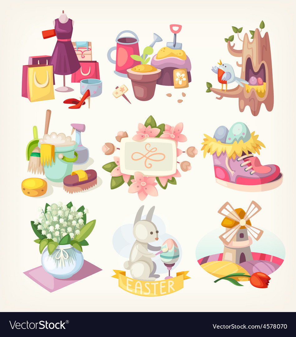 Spring card elements vector image