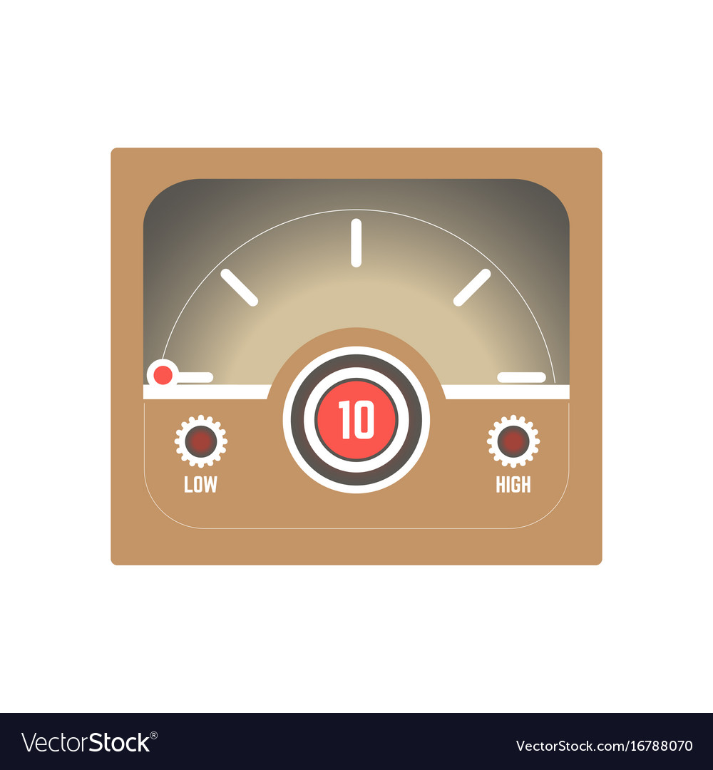 Square retro style speedometer with low and high