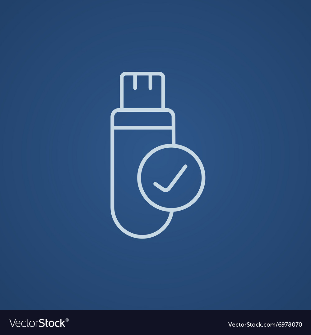USB flash drive line icon vector image