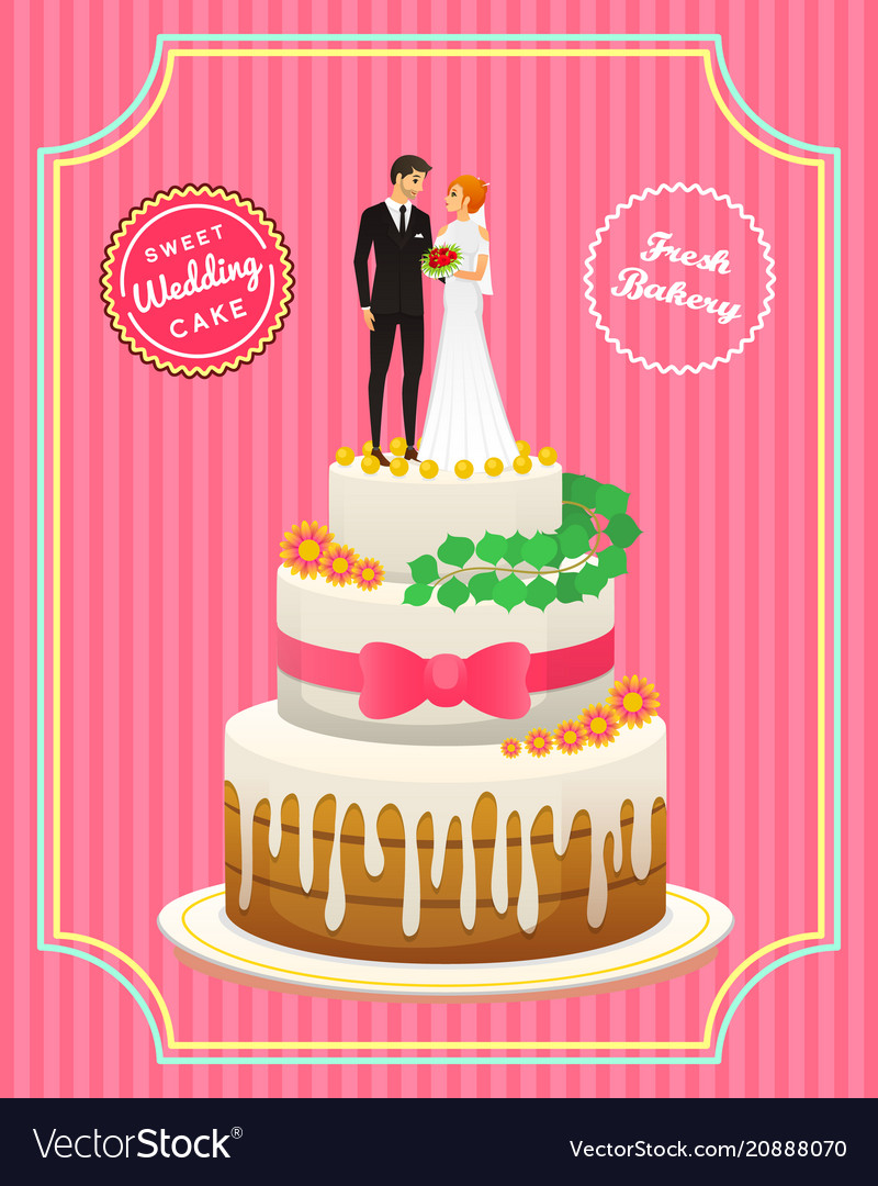 Wedding cake card bride and groom valentines day