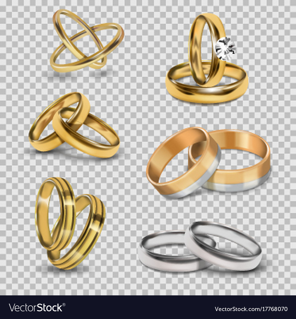 Wedding realistic 3d couples rings gold and silver