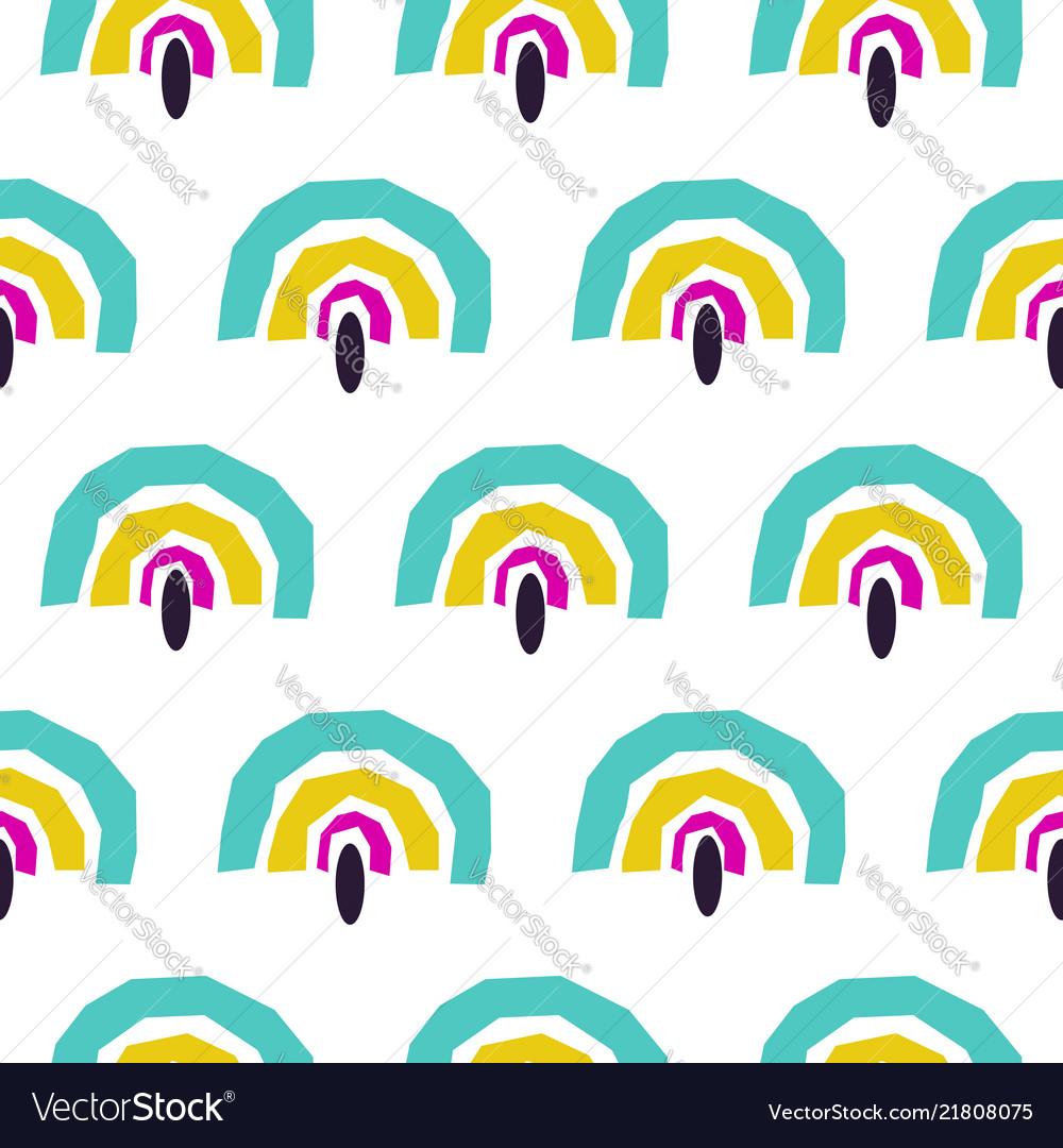 Abstract rainbow fans seamless pattern