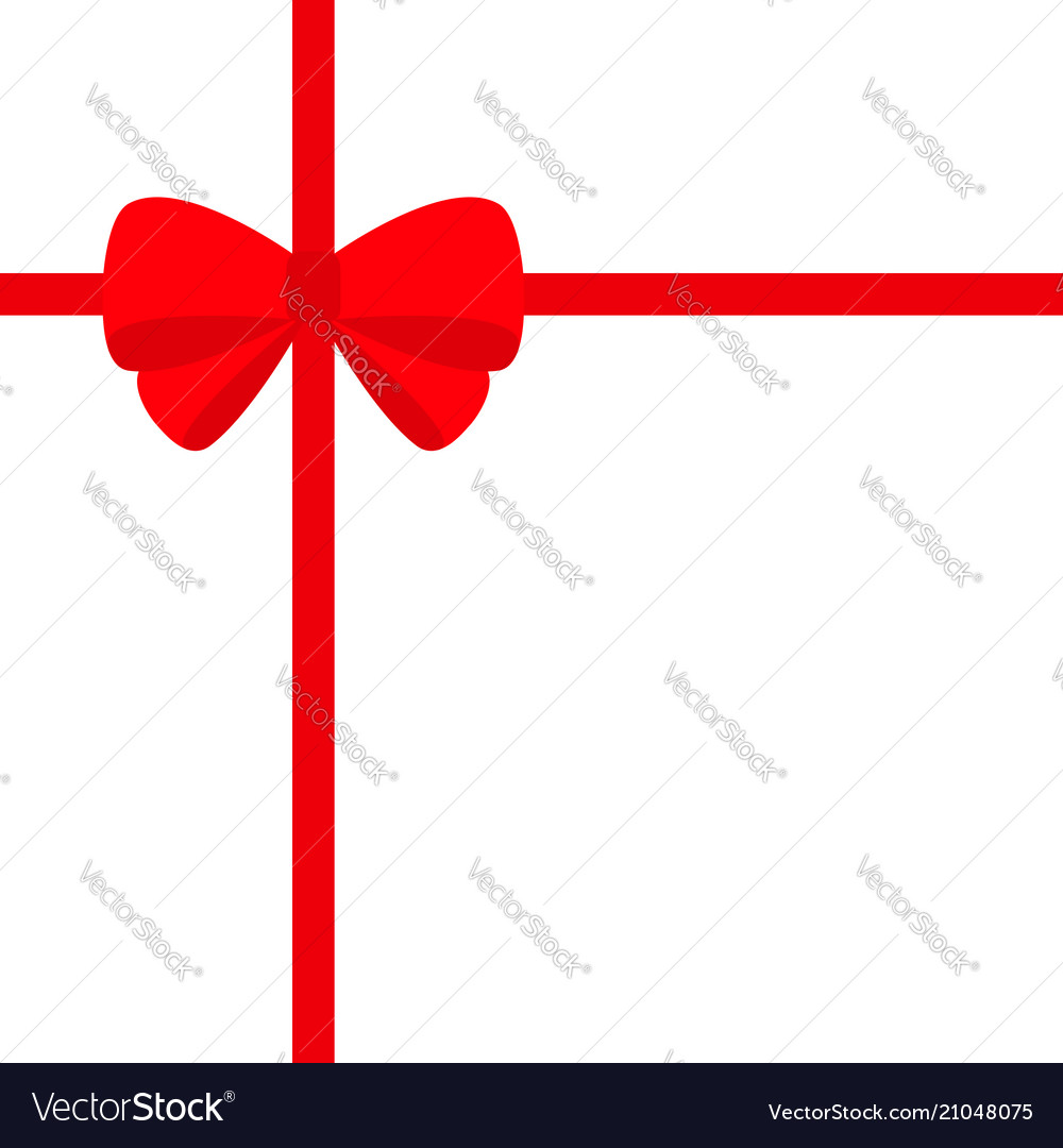 Big red ribbon with christmas bow icon gift box