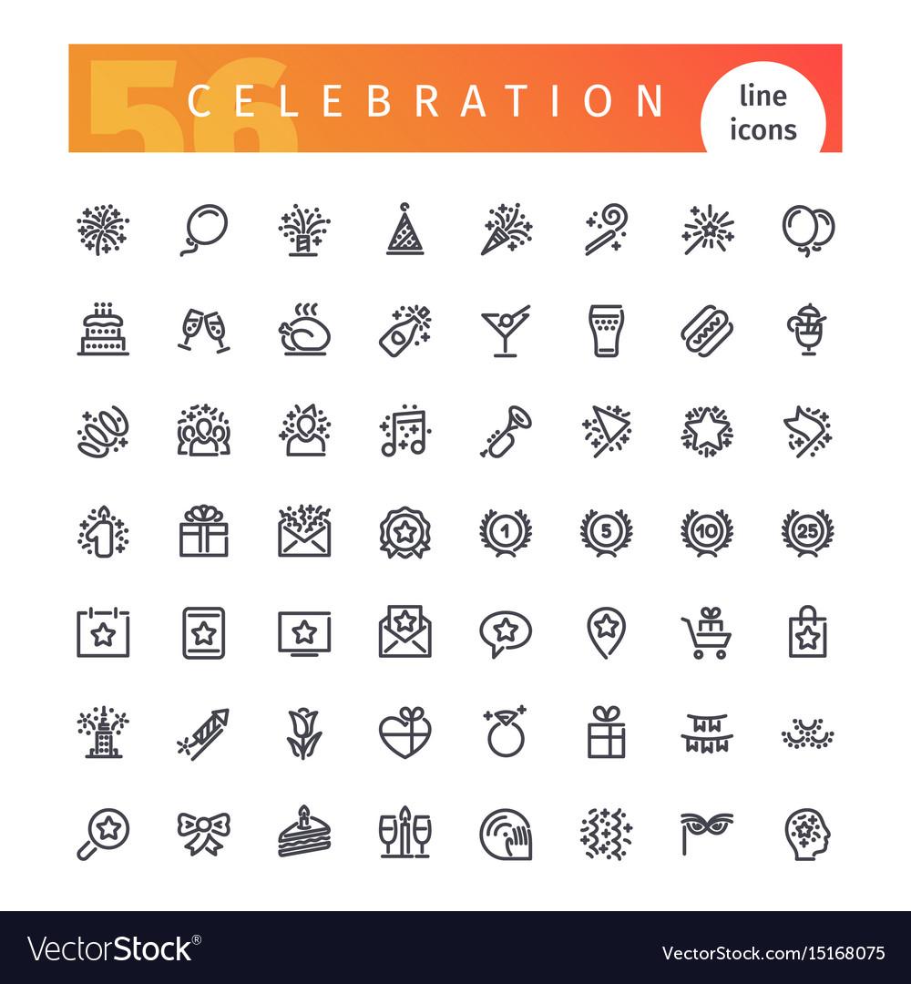 Celebration line icons set