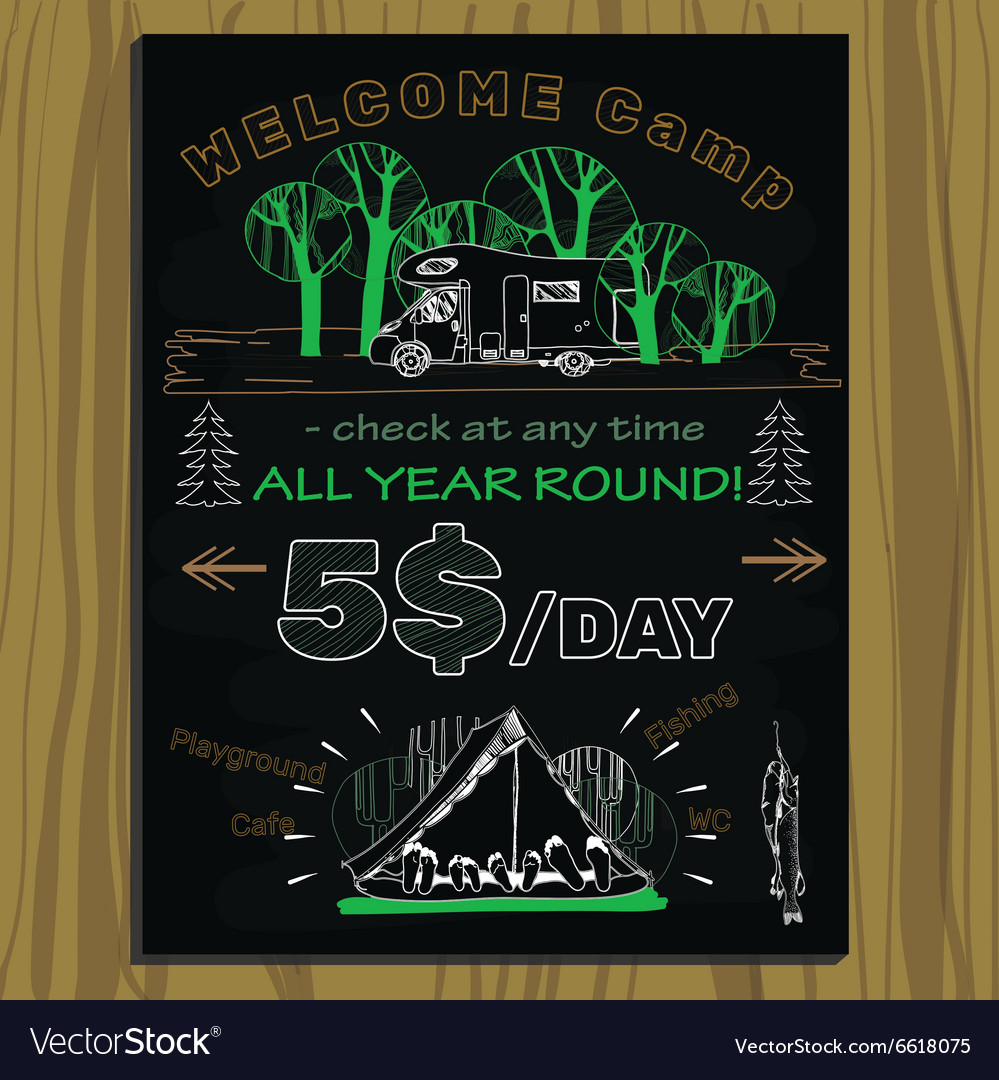 Chalk board invitation for holiday in the camping