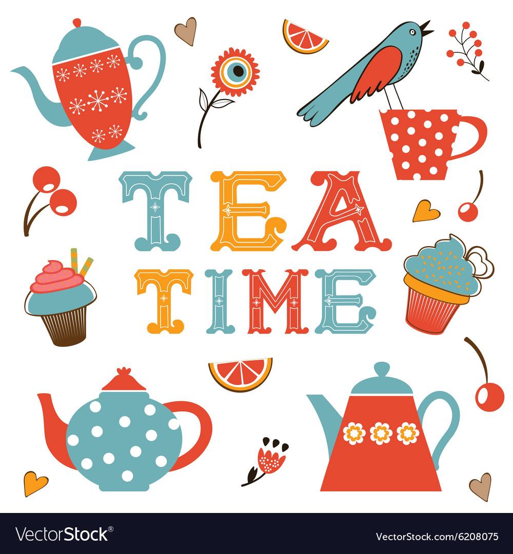 Colorful tea party set vector image