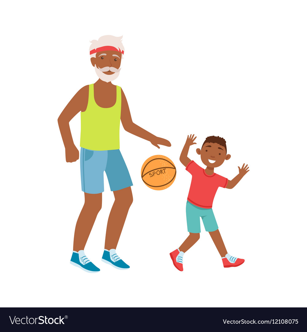 Grandfather And Grandson Playing Basketball Part vector image