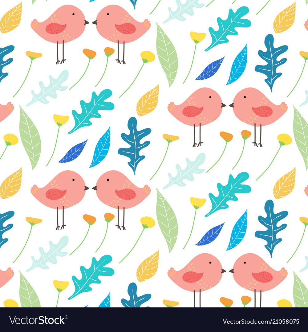 Hand drawn floral and cute bird pattern background