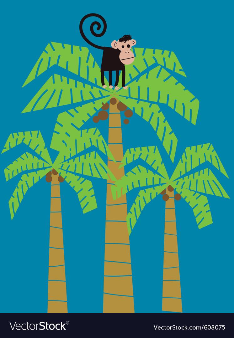 Monkey climbed in a palm tree
