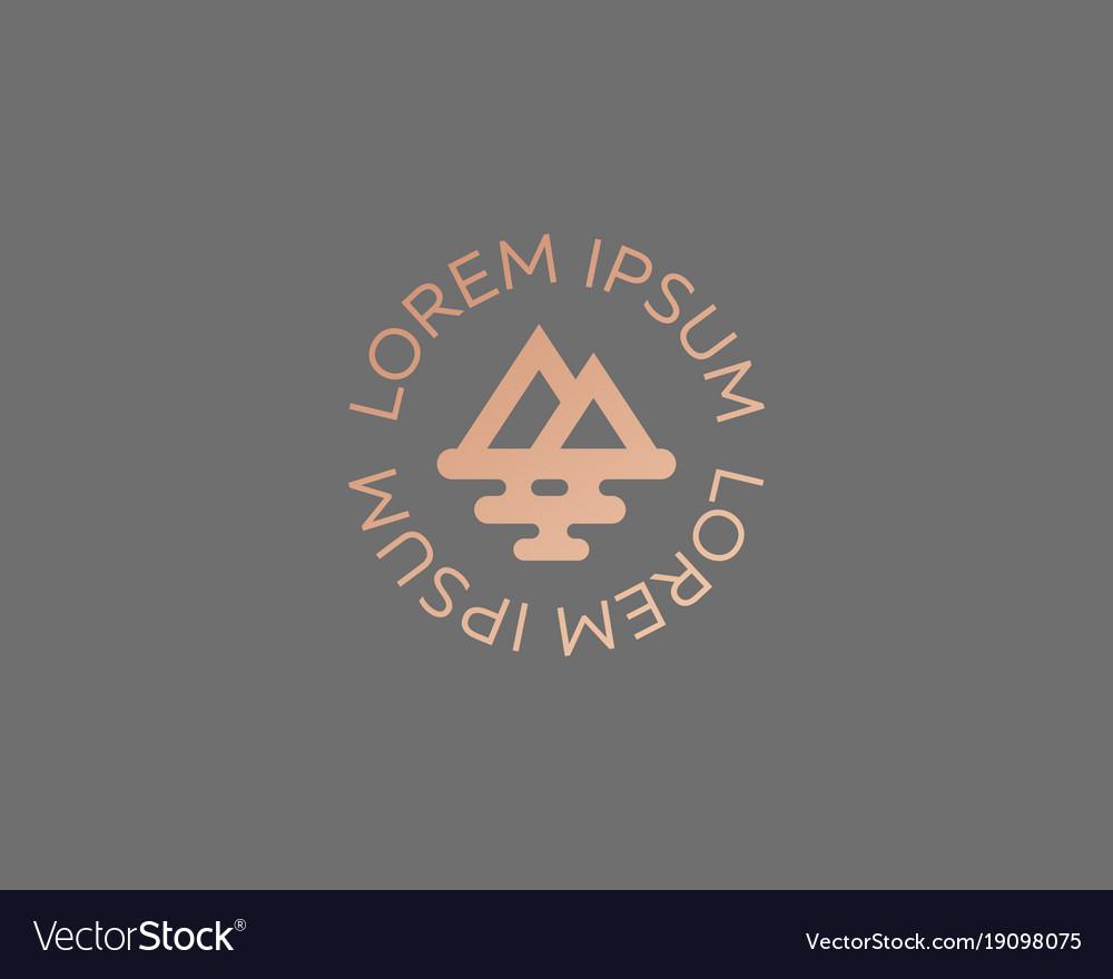 Mountain sea travel logo design creative modern