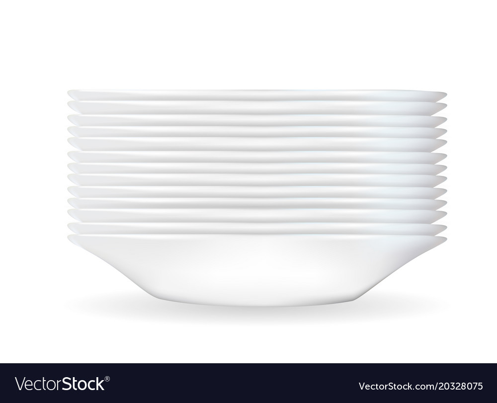 Realistic 3d model of a deep white dish