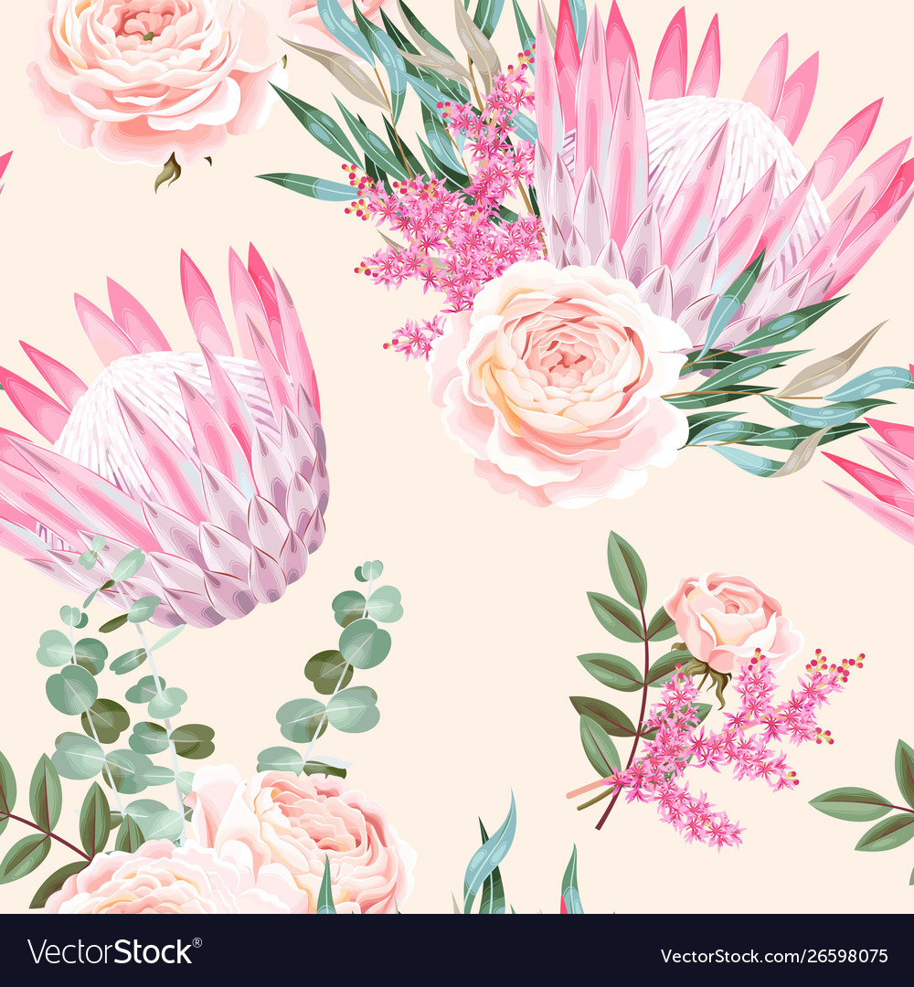 Seamless pattern with protea and roses