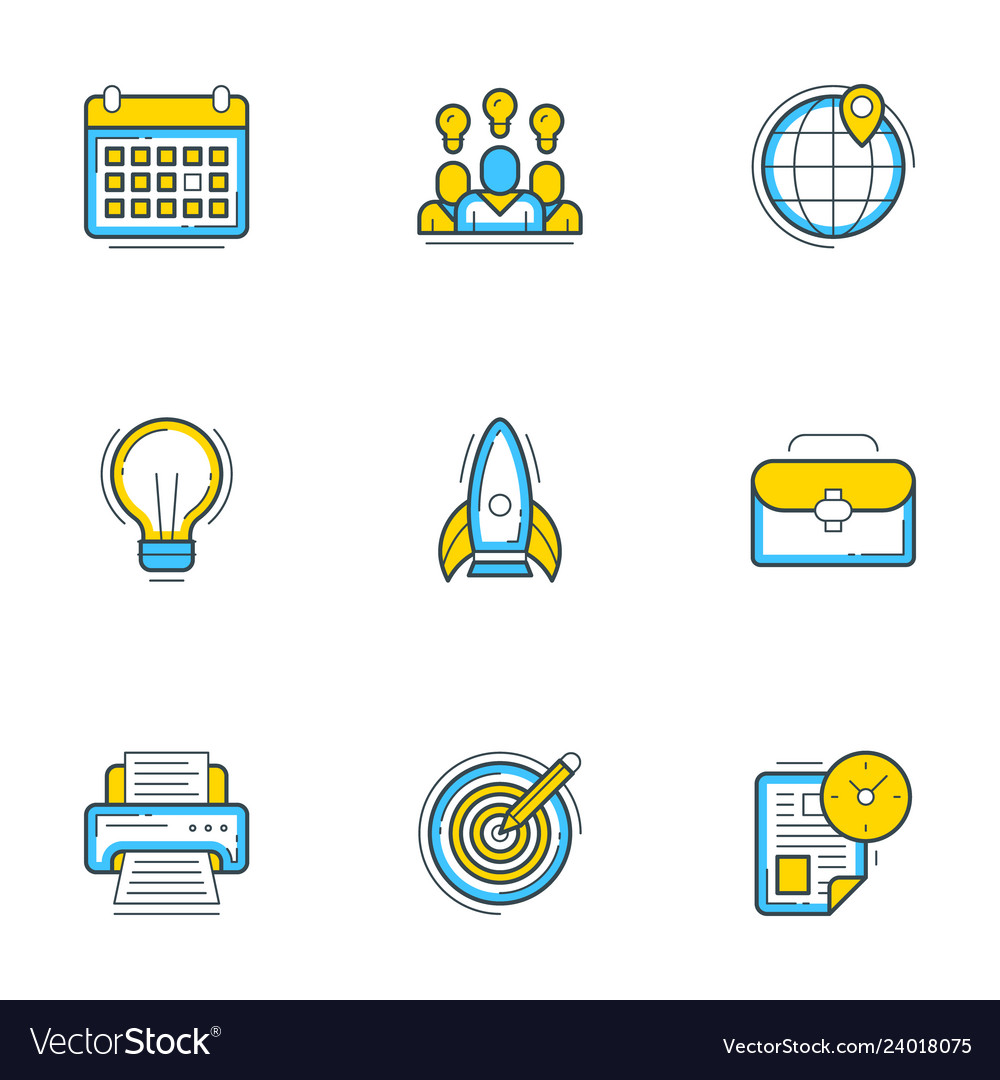 Set of 9 flat line business icons startup and