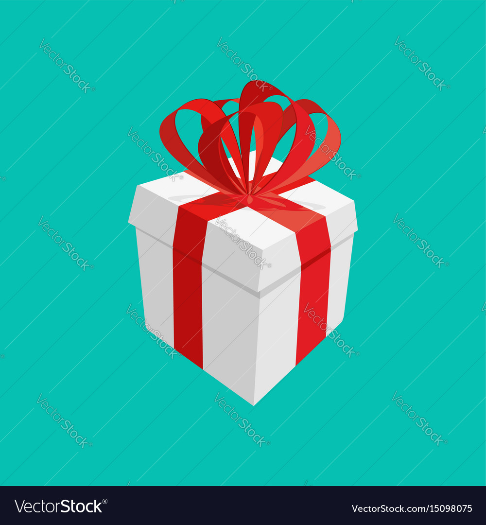 White gift with red bow isolated present box vector image