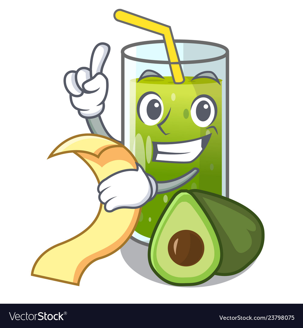 With menu avocado smoothies are isolated on