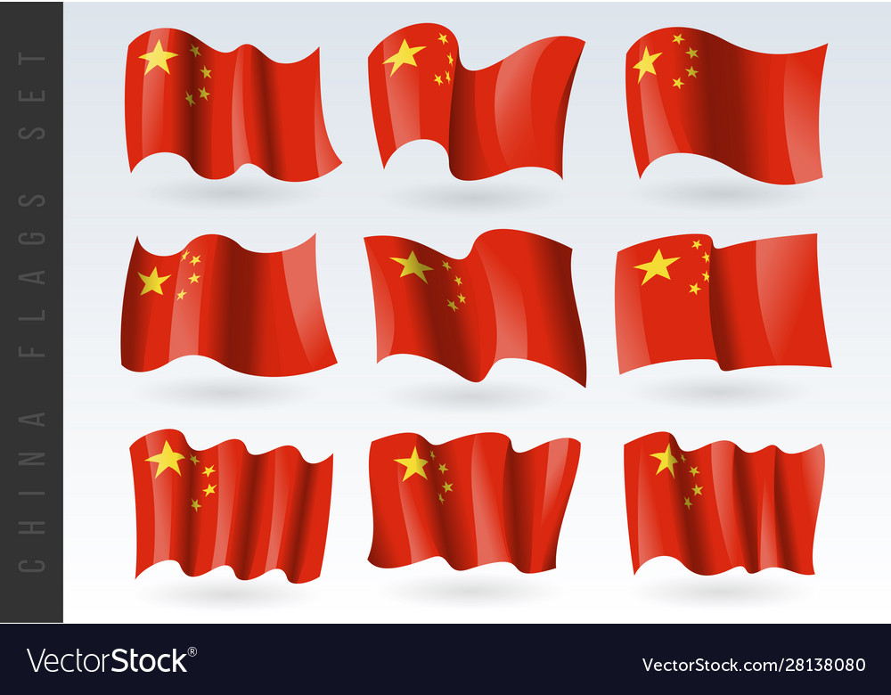 3d waving flag china isolated on white