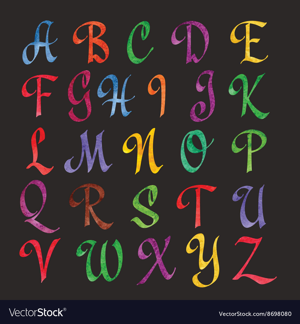 Colorful Watercolor Alphabet vector image