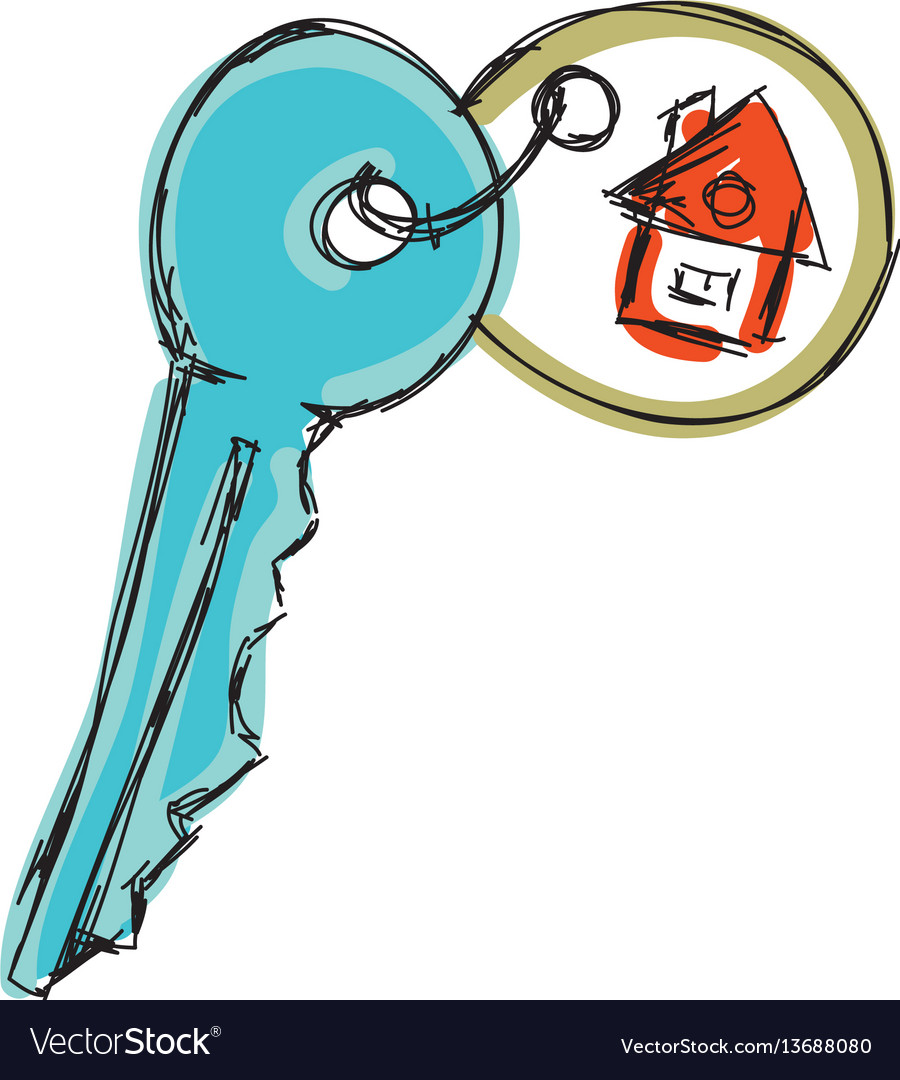 Drawn colored house key vector image