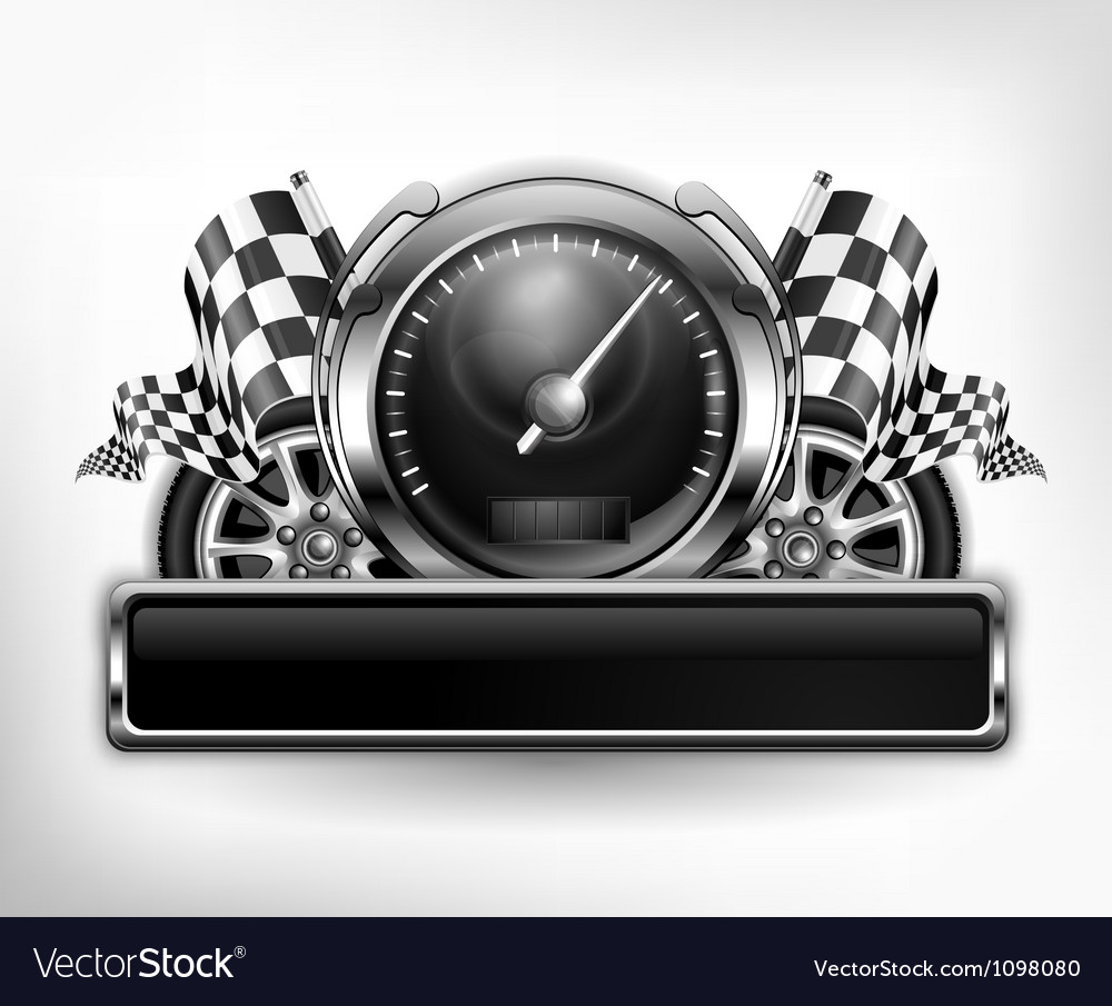 Emblem speedometer races checkered flag