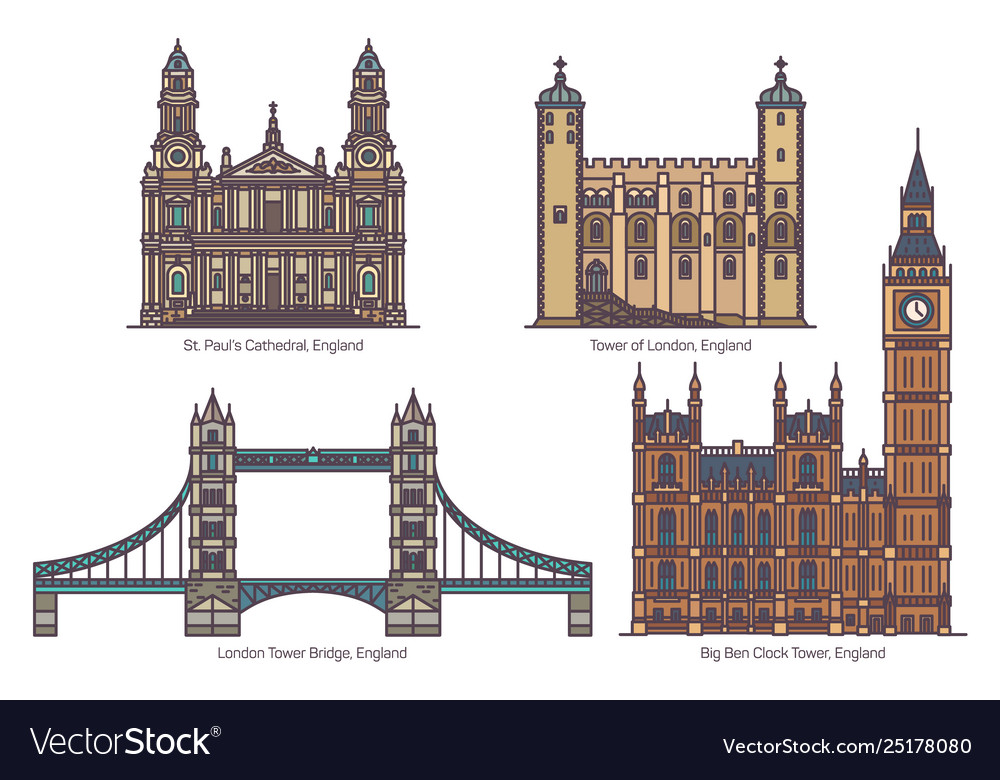 English or uk architecture landmarks in thin line