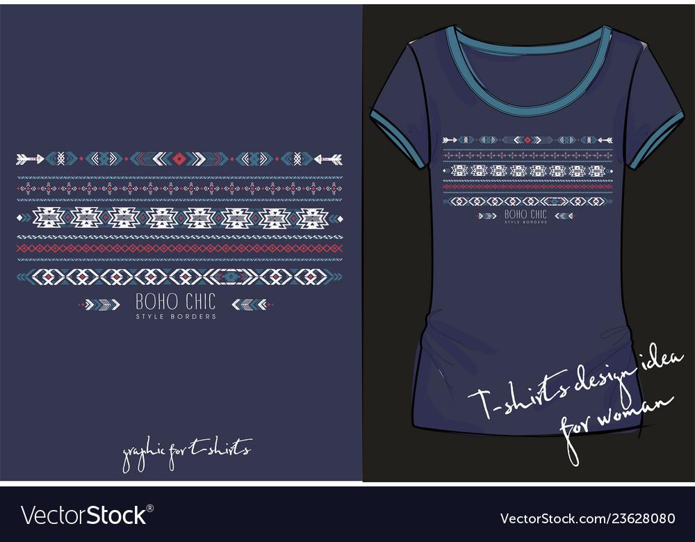 7f0f69c4 Fashion t shirt print border ethnic design Vector Image