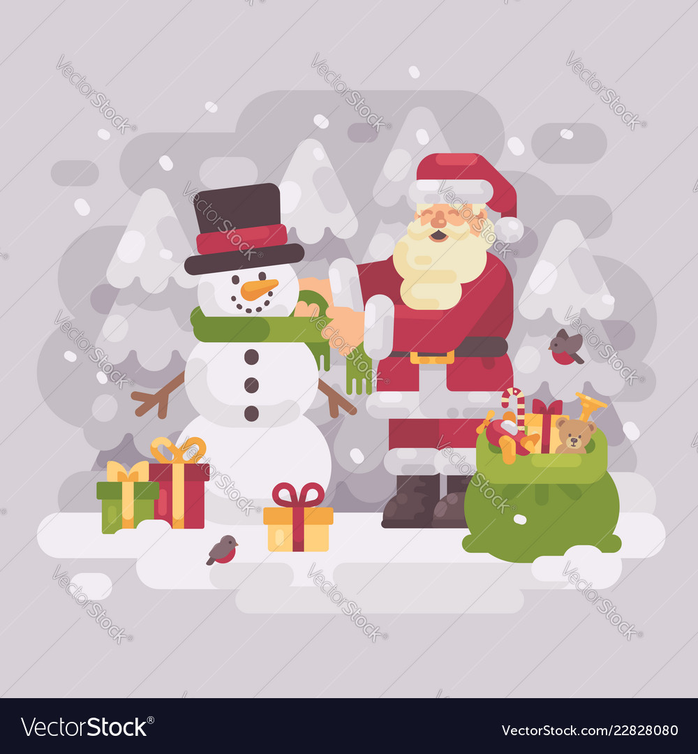 Happy santa claus giving a scarf to a cute