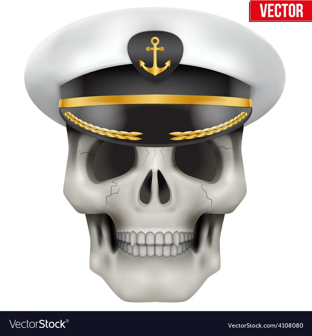 Human skull with sea captain cap on head