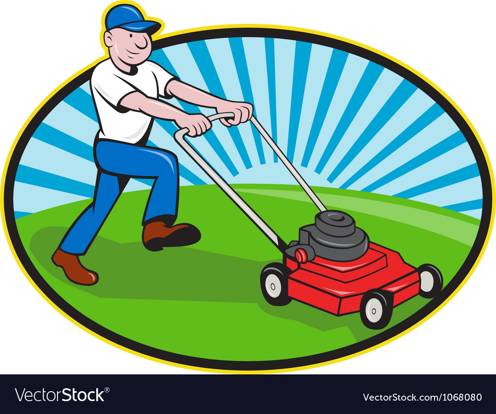 Lawn Mower Man Gardener Cartoon Royalty Free Vector Image