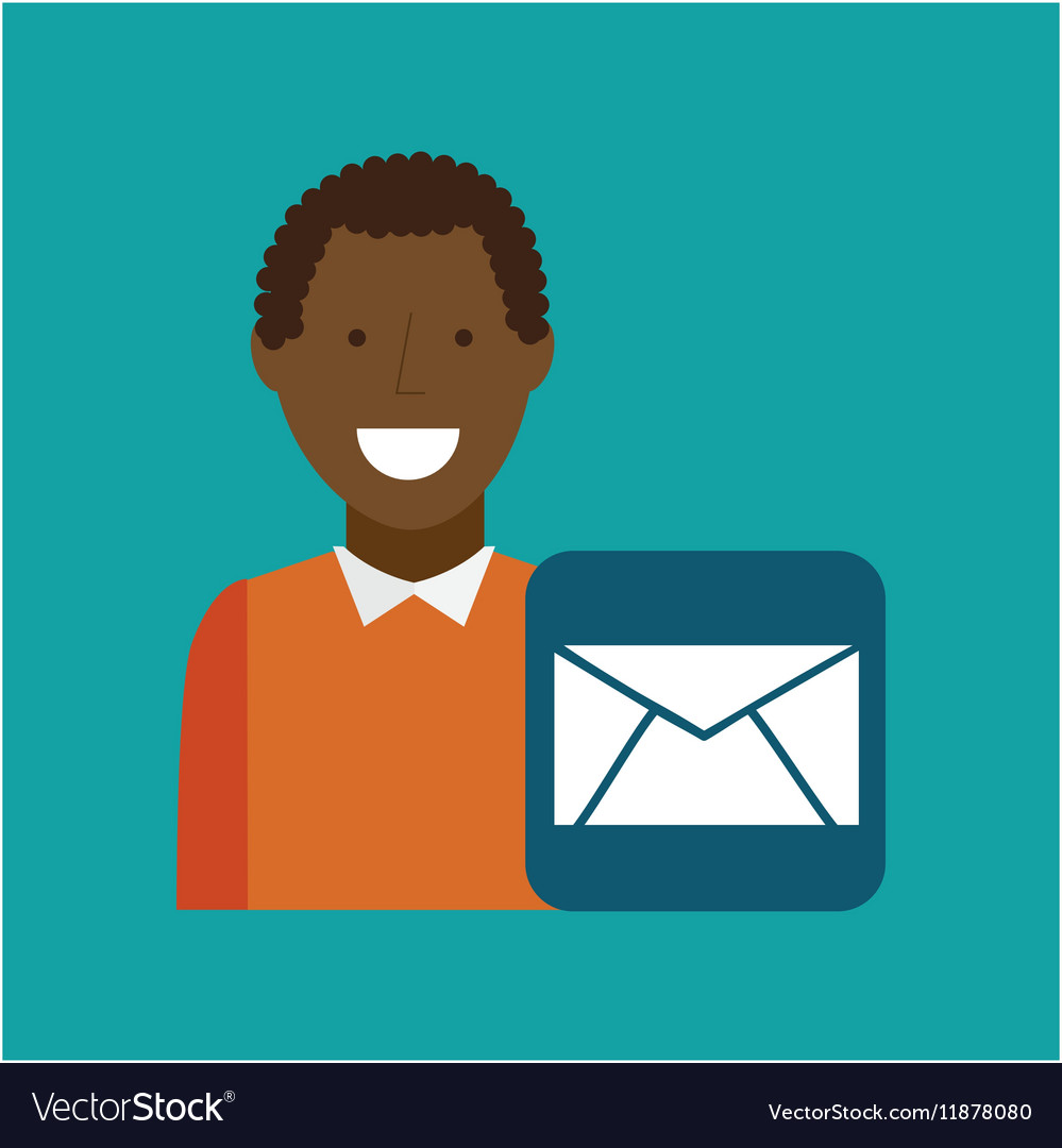 Man afroamerican using laptop email media icon vector image
