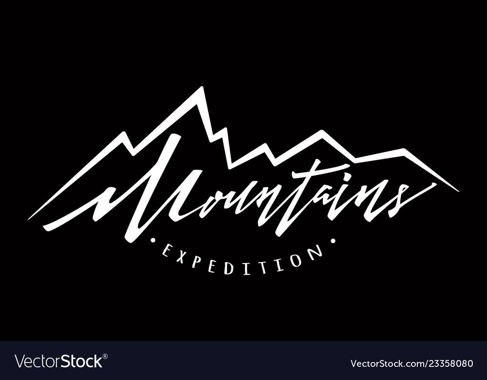 Mountains logo logotype template hand drawn