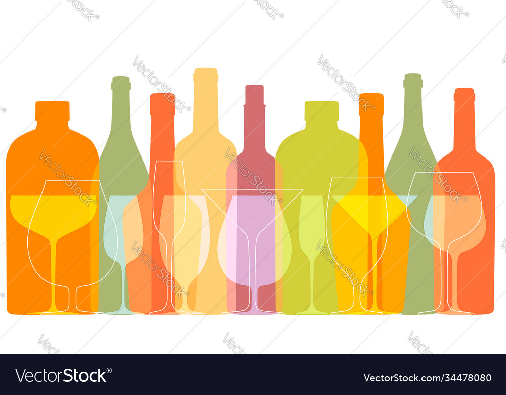 Outline wine bottles and glasses silhouettes in