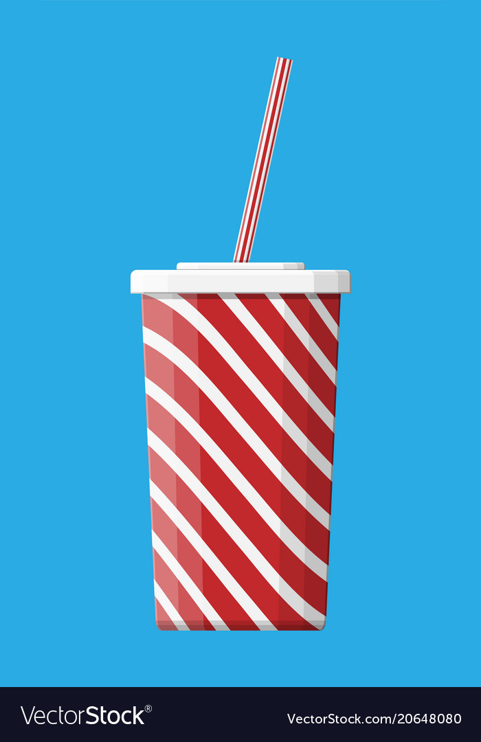 Red striped paper glass with drinking straw