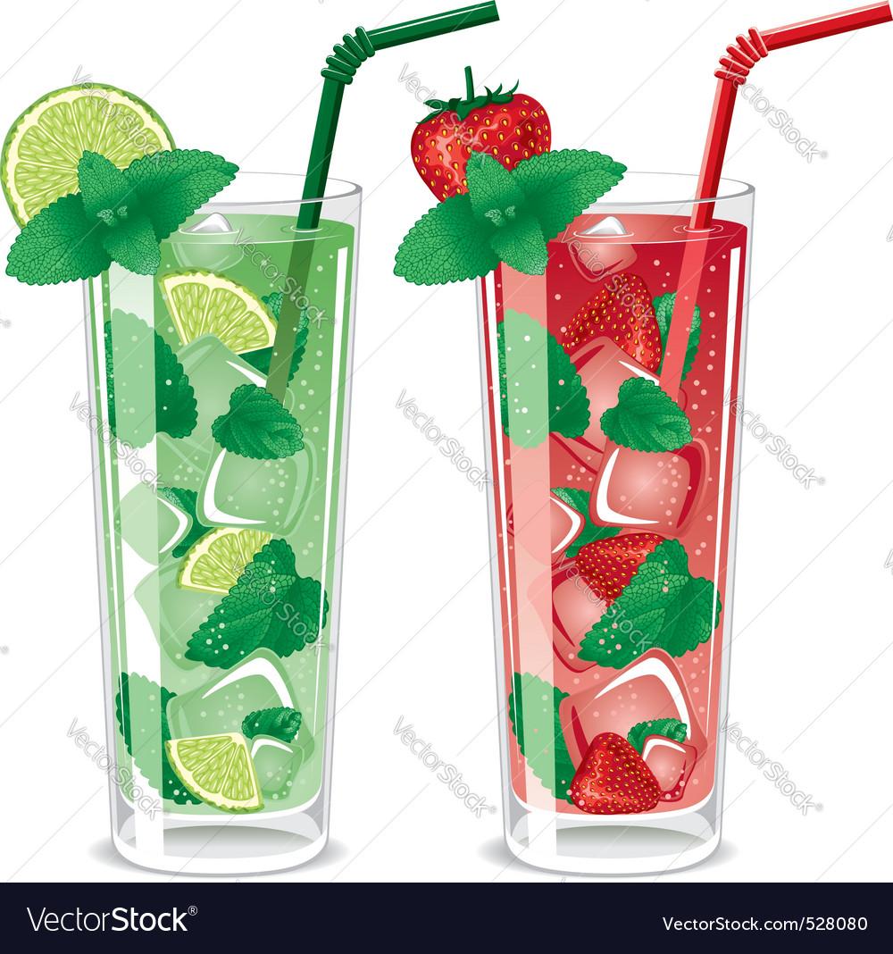 Refreshing mojito cocktails vector image