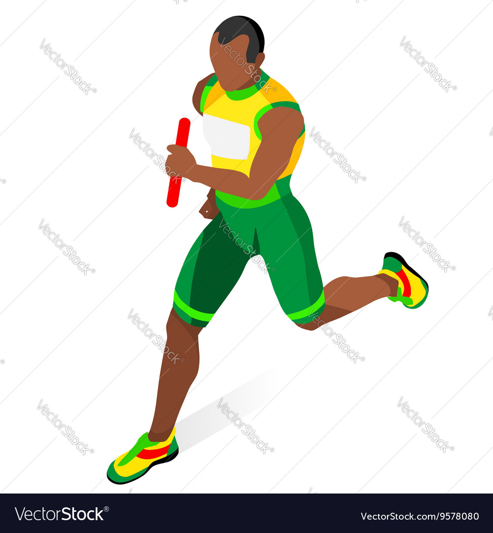 Running Relay 2016 Sports 3D Isometric vector image