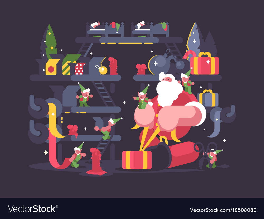 Santa claus and elves pack gifts