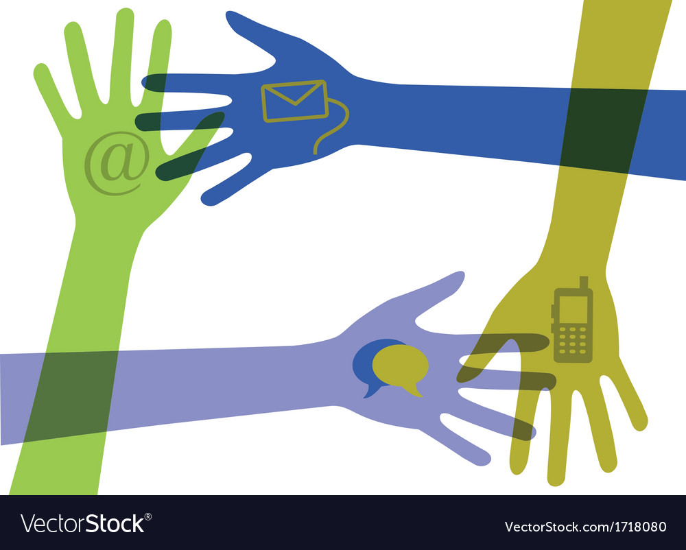 Set of hands with communication icons