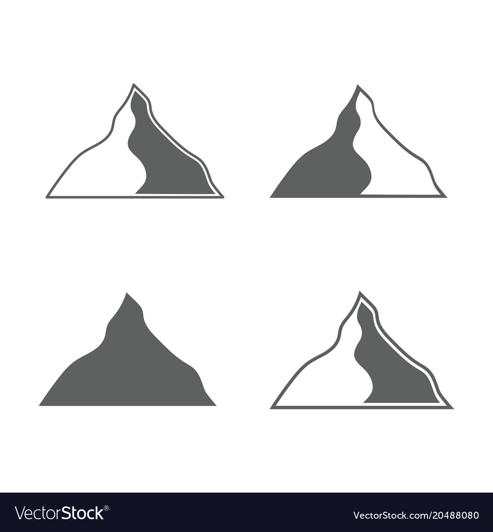 Set of monochrome forms of mountains