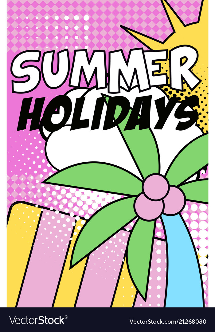 Summer holidays banner bright retro pop art style