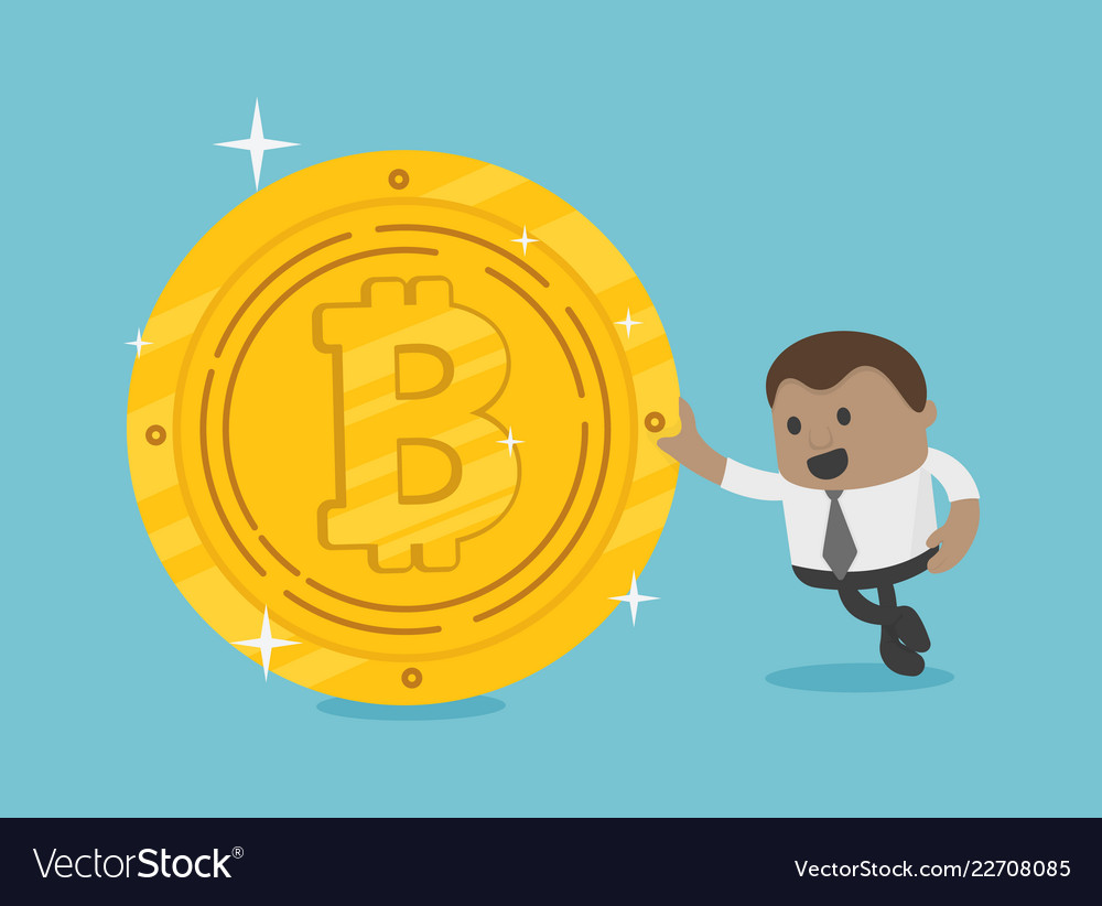 African businessman with coins bitcoin