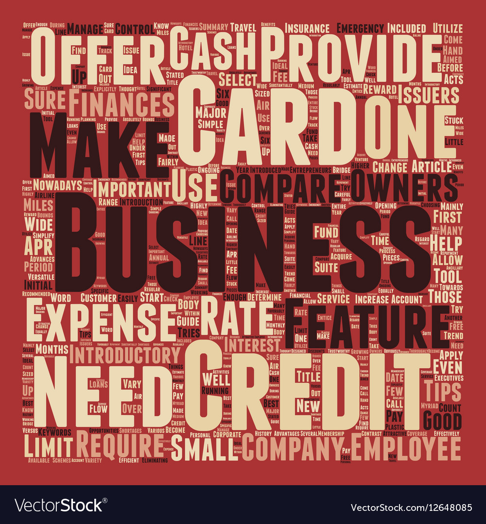 Business Credit Cards Guide text background Vector Image