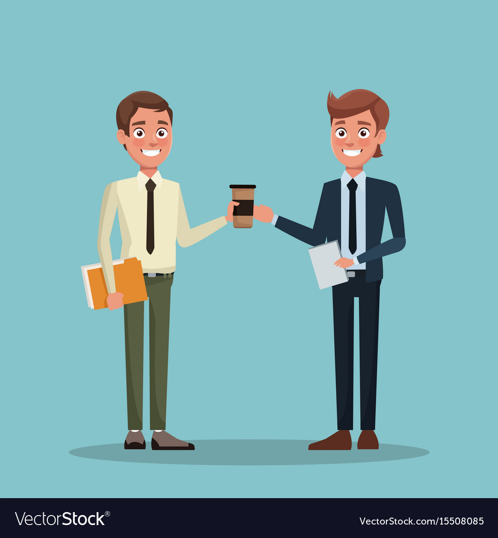 Color background full body couple executive men