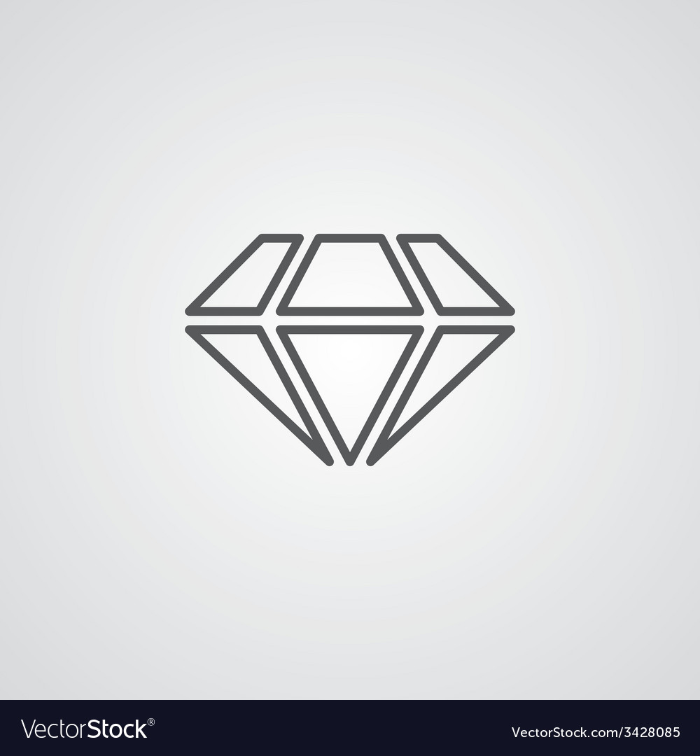 Diamond outline symbol dark on white background