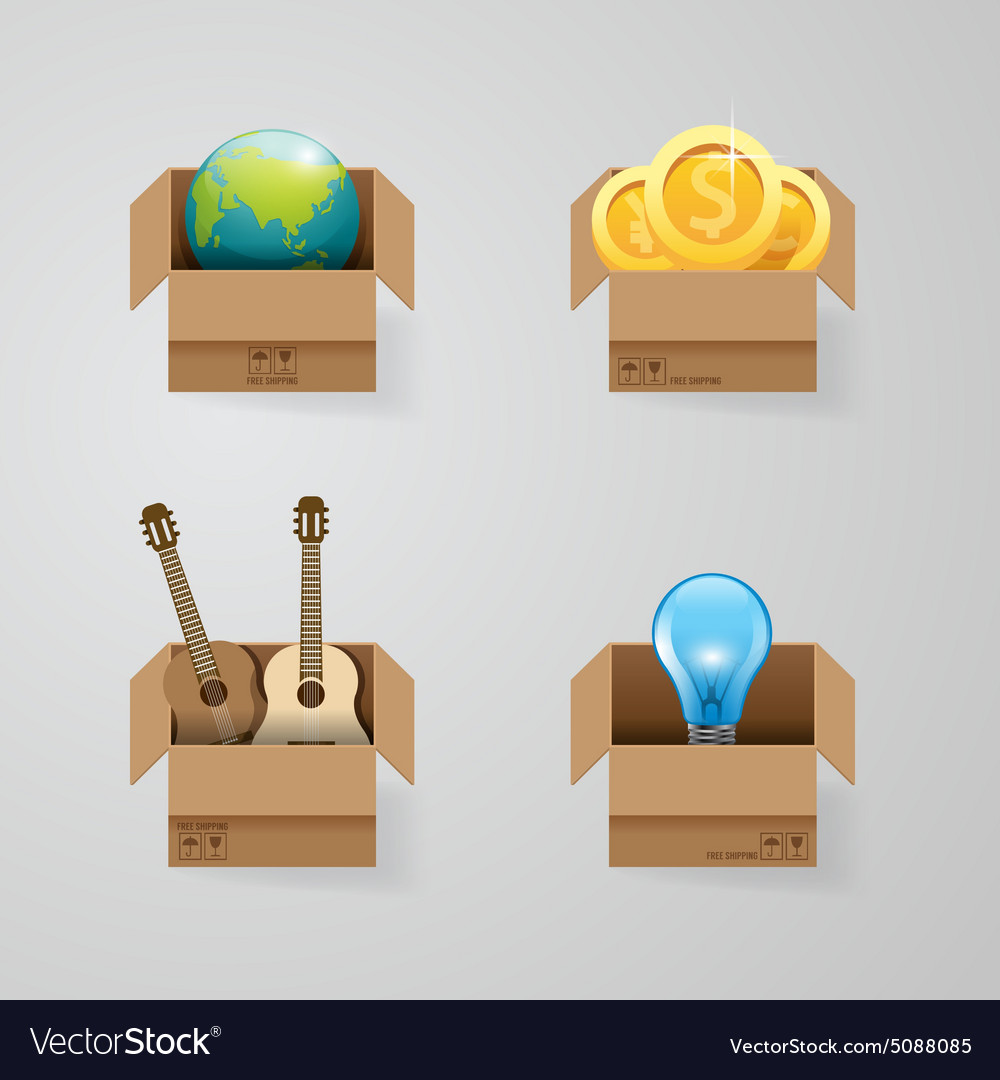 Objects in open box set design concept