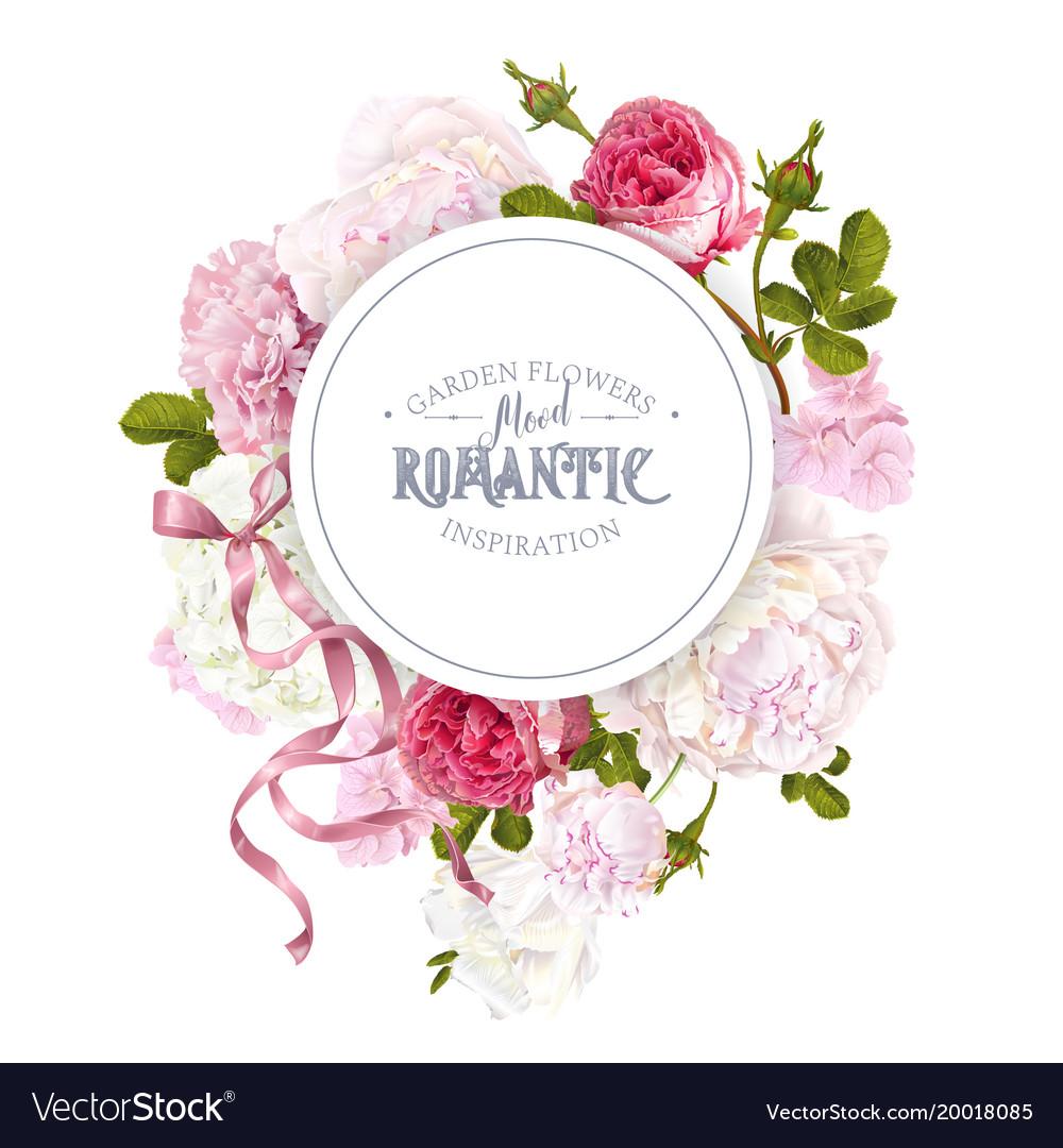 Romantic garden round banner vector image
