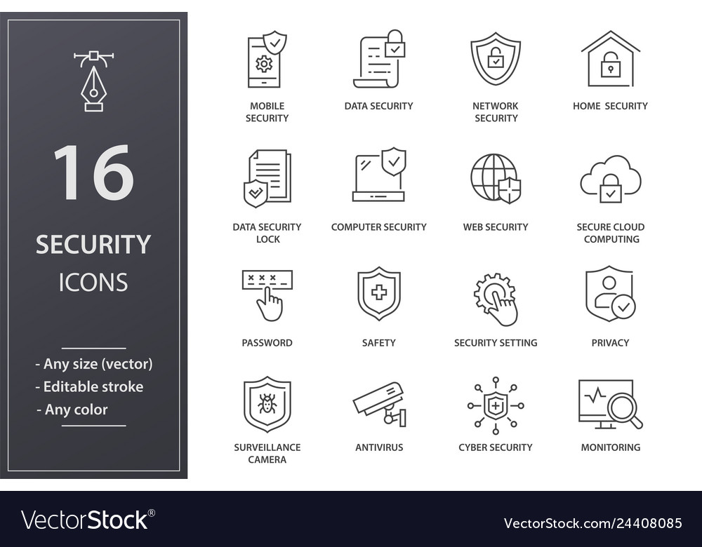 Security line icons set black