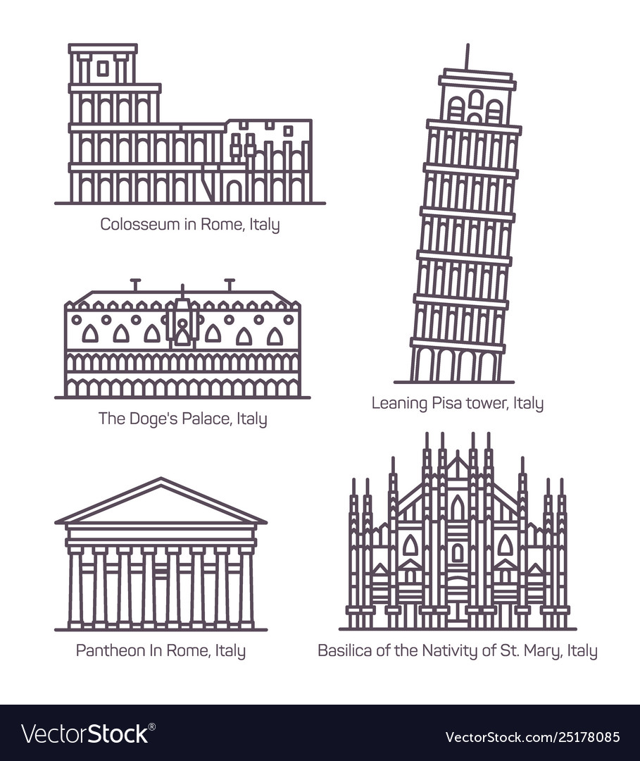 Set isolated italy monuments in thin line