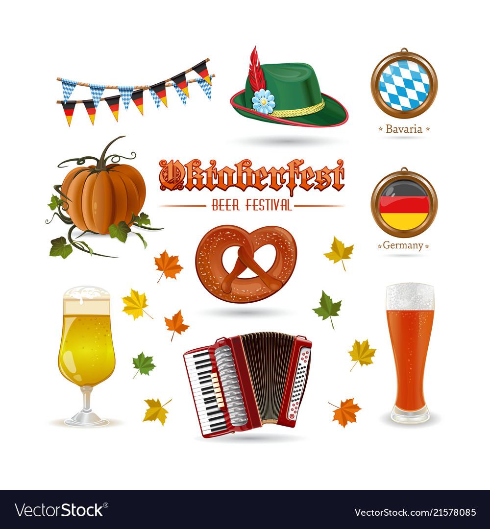 Set of icons for beer festival oktoberfest