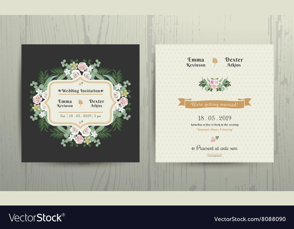Botanical Leaves Flowers Invitation Card