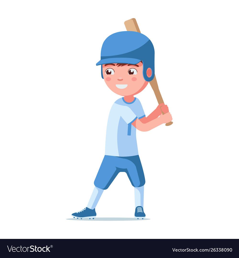 Boy baseball player in a helmet holds a bat